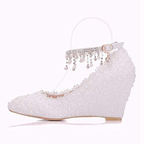 À Dentelle En Fleurs Femmes Qiusa Compensées Taille De Blanc Mariage Chaussures Talons Cloutées coloré Chaînes Cheville Hauts Eqz5T1