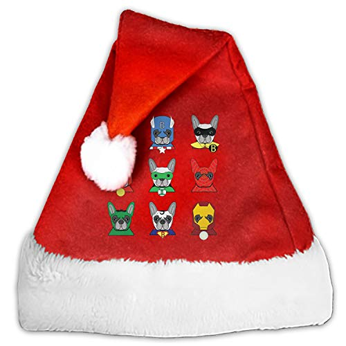 Heroes French Bulldog Santa Claus Cap for Unisex-Adults