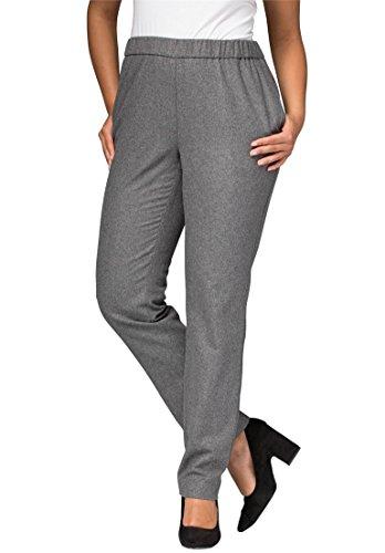 Jessica London Women's Plus Size Wool Pants With Elastic Waist – 12, Charcoal Grey