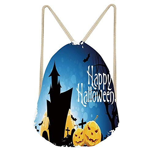 Niomhdos Halloween Gothic Ancient Castle Moon Cruciform Graveyard Tree Silhouette Abstract Gym Drawstring Unisex Drawstring Bag Simple Drawing Quick Dry Backpack -