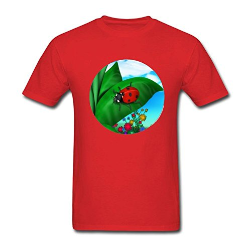 WHShirt Men's Cartoon Ladybug Stickers Short Sleeve T-Shirt Large Red Bug Short Sleeve Tee