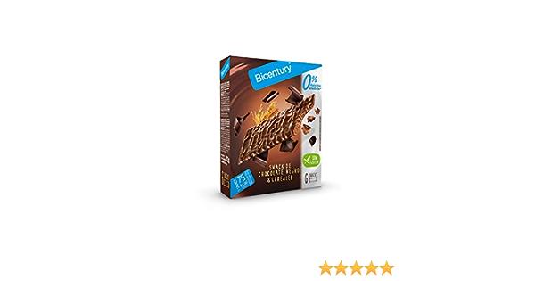 Bicentury Snack de Chocolate Negro & Cereales, sin Azúcares, Pack de 6 Unidades, 102g