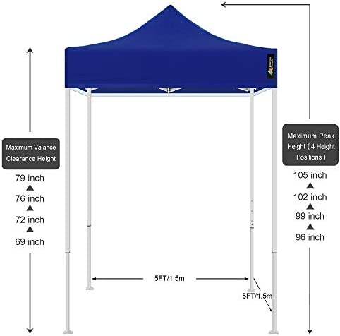 AMERICAN PHOENIX Canopy Tent 5×5 feet Party Tent White Frame Gazebo Canopy Commercial Fair Shelter Car Shelter Wedding Party Easy Pop Up Blue