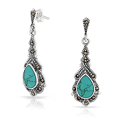 (Vintage Style Teardrop Stabilized Turquoise Marcasite Dangle Earrings For Women 925 Sterling Silver December Birthstone)
