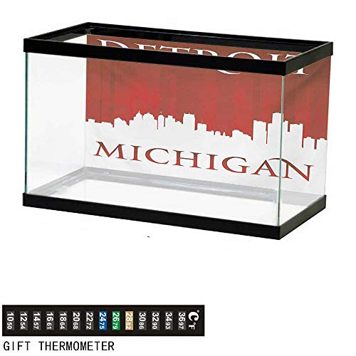 wwwhsl Aquarium Background,Detroit,Michigan City Silhouette Red and White Composition with Classical Typography,Red and White Fish Tank Backdrop 48
