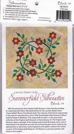 Summerfield Silhouettes Laser Cut Fusible Applique Kit - Block #14