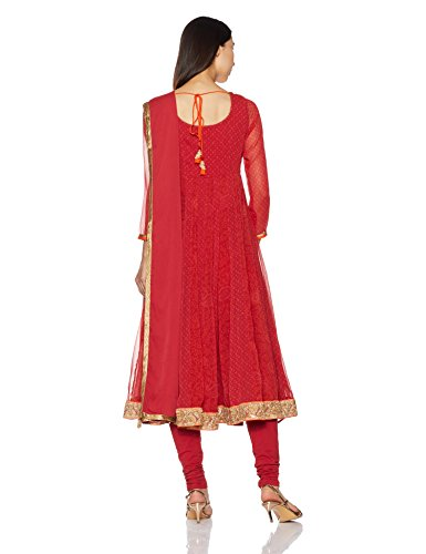 BIBA Women's Anarkali Polyester & Cotton Suit Set 32 Red by Biba (Image #2)