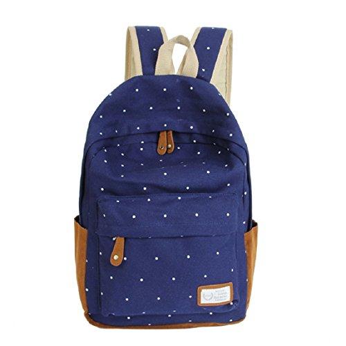 Malloom®doble-hombro niñas lona puntos Bolsa para la escuela estudiantes mochilas (rosa) oscuro azul
