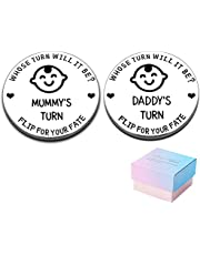 Funny Pregnancy Gifts for First Time Moms/Dads to Be, Women/Men Decision Coin Gifts for New Parents New Born Girls Boys Christmas Birthday Mothers Fathers Day Mummy Daddy Present Double-Side