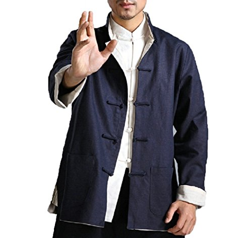 (ZooBoo Kung Fu Jacket Both Sides Wear Tops Martial Arts Long Jersey (M, Dark Blue with Beige))