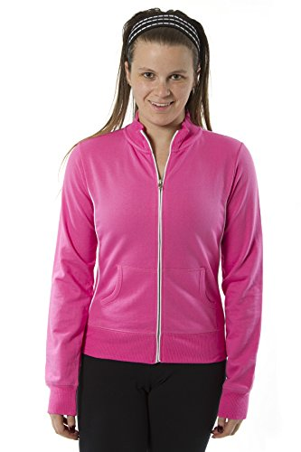 Rogue Apparel Womens Long Sleeve Mock Neck Jacket Zip up With Piping Jacket (X-Large, Hot - Sports Coupon Ski Sun