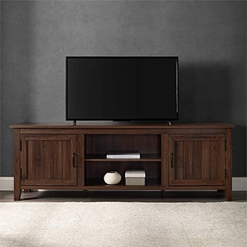 Pemberly Row Farmhouse Rustic Wood Barn Door 70″ TV Stand Console
