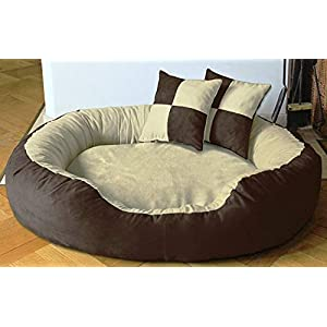 Hiputee Luxurious & Durable Polyester Filled Soft Dual Colour Dog/Cat Bed (Small, Brown Cream)