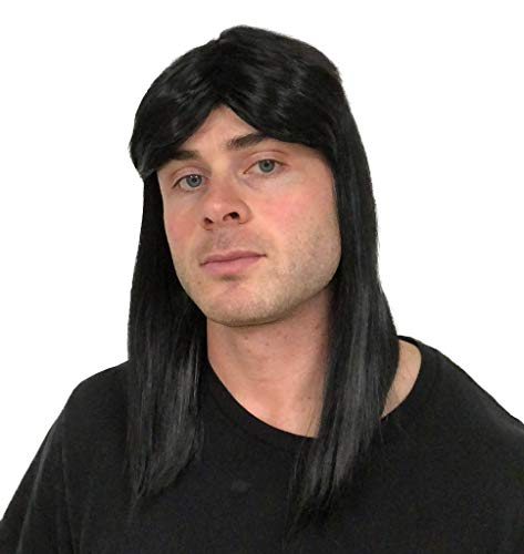 Black Rocker Mullet Wig: Mullet Rocker Wig for Men 80s Mens Rocker Wigs Costumes Theme Party Men's Rockstar Wig Halloween 80's Rockstar Wigs for Men Wigs Rockstar Costume Wig ()