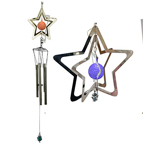 Yeyo Color Changing Solar Powered LED Wind Spinner Mobile Light, 4 Aluminum Tubes Star Metal Wind Chime with Solar Light by Yeyo