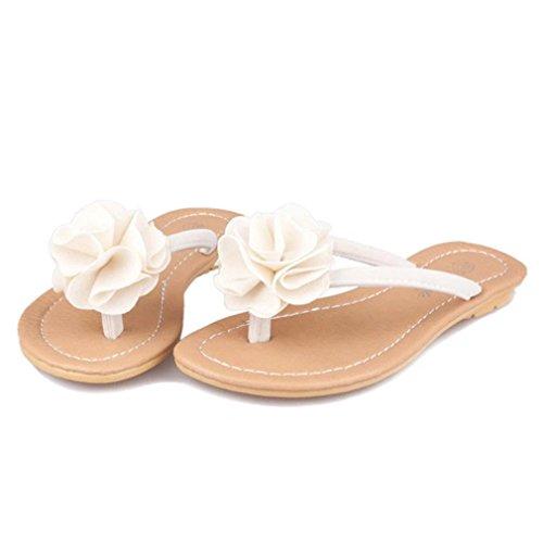 Omiky® Frauen Bohemia Slipper flache Schuhe Blume Freizeit Lady Sandalen Outdoor Beach Schuhe Weiß