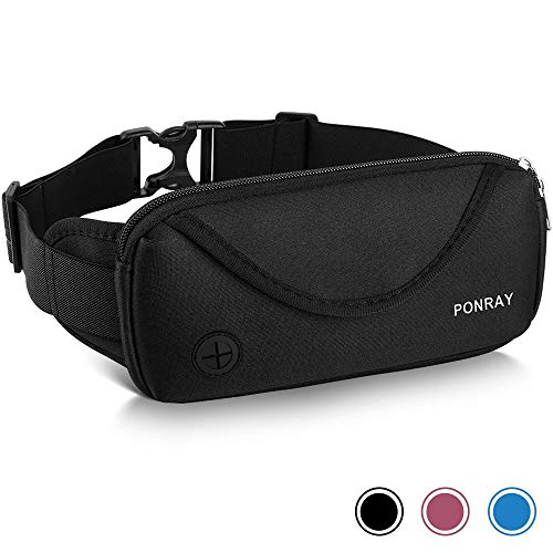 PONRAY Running Belt Waist Pack - Water Resistant Runners Belt Fanny Pack for Men Women Jogging Hiking Fitness - Adjustable Run Phone Holder Pouch for iPhone Xs Max 8 7 Plus - Dual Pockets Design