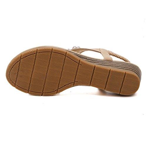 Sandals Bohemian for Fashion Owl Beige CYBLING Wedge Shoes Women qIC14wwx