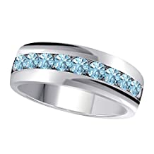 6MM Channel Set 1.00 Ct Round Shape Brilliant Cut Lab Created Aquamarine Single Row Fancy Men's Wedding Band Ring in 14K White Gold Fn Alloy