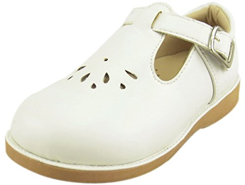 The Doll Maker Upper Cut Out T Strap Flat - ST173062B-10 White