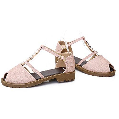 LongFengMa Women's T-Strap Peep Toe Fashion Flat Sandals Rhinestone Pink GTt5I