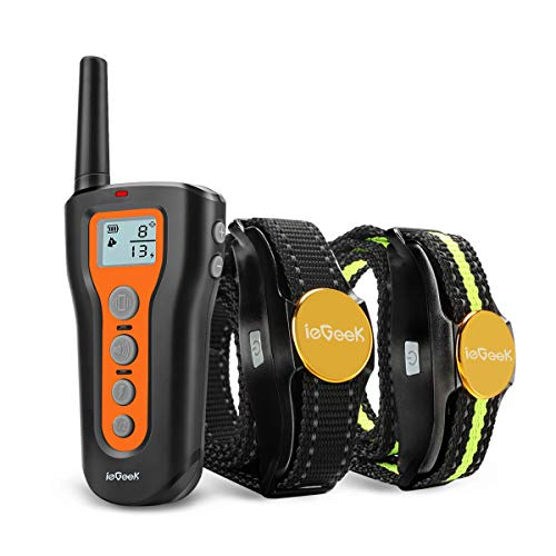 - ieGeek Dog Training Collar for 2 Dogs Shock Collars with Remote Up to 1000ft, Upgraded Rechargeable Waterproof Electric Sport Dog E-Collar with Beep, Vibration and Shock for Small Medium Large Dogs