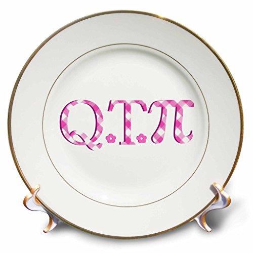 3dRose cp_164995_1 Qt Pi Cute Pink Cutie Pie Math Pun Geeky Girly Mathematics Humor Porcelain Plate, 8-Inch