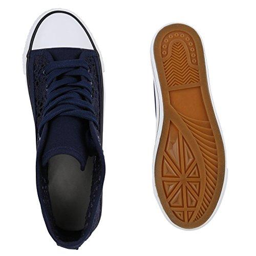 Damen Sneaker High Glitzer Sneakers Camouflage Stoffschuhe Sportschuhe Schnürer Übergrößen Flats Turnschuhe Flandell Dunkelblau Strick