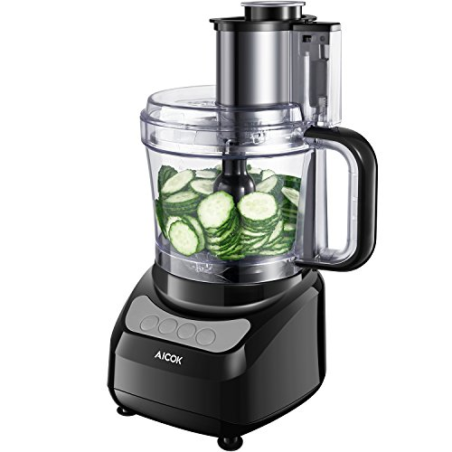 Aicok 12-Cup Food Processor with Wide Mouth, Meat Processor with Two Chopping Blades & Slicer, Safety Interlocking Design, 500W, Black