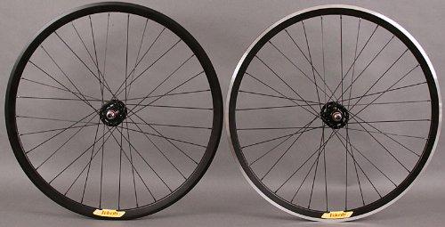 Velocity Deep V Black Rims Fixed Gear Track Bike Wheelset Wheel Pair Non Machined Rear