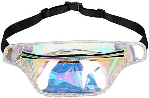 NOLLY Riñonera Deportiva Holograma para Mujer Cintura Transparente Bolsa Holográfica Fanny Pack Bumbag, Cinturones de Dinero para Viajar en Bici Que va de excursión (Color : Black, Size : One Size): Amazon.es: