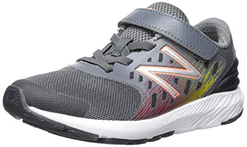 New Balance Boys' Urge V2 FuelCore Hook and Loop Running Shoe, Lead/Team red, 10 W US Toddler