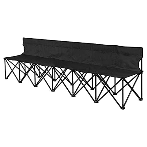 Giantex Portable 6 Seats Folding Chair Bench Outdoor Sports Camping W/Carrying Bag (Black) - Sports And Outdoors
