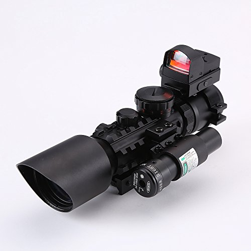 IRON JIA'S 3-10X42 Tactical Rifle Scope Green/ Red (Optional) Laser & Holographic Green/Red Dot Sight Combo Airsoft Gun Weapon Sight Hunting ()