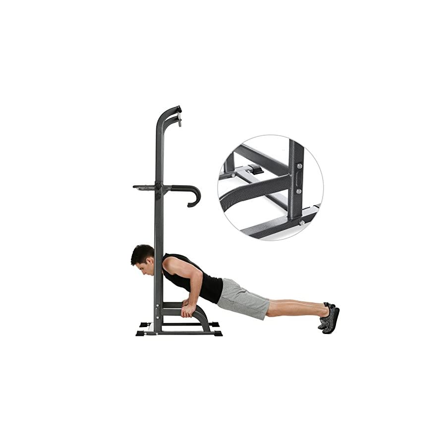 Fashine Adjustable Power Tower Station, Multi Function Chin Up, Pull Up, Push Up, Dip Stands Workout Station Strength Training Fitness Equipment for Home Gym Office (US STOCK)