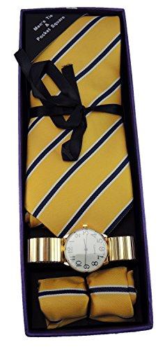 Set Yellow Pocket Watch (Men's Watch Set Tie Gift Set Gold Stretch Band Watch Yellow Striped Tie Matching Pocket Square Set)