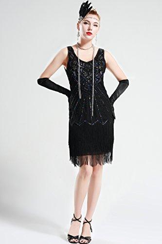 BABEYOND Damen Kleid Retro 1920er Stil Flapper Kleider mit zwei ...