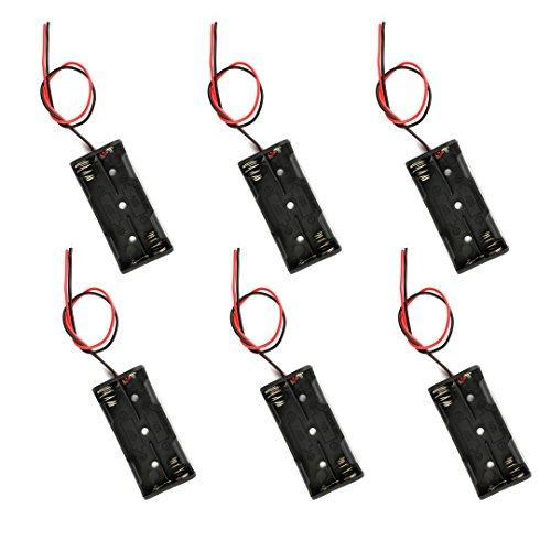 2 x 1.5V AAA Battery Holder Case Box with Red and Black Wire Leads 6Pcs(6 PCS 2AAA)
