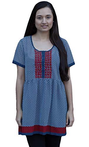 (Ayurvastram Janki Printed Georgette Hand Embroidered Tunic Boho Top Kurti Dress : Turquoise: Size 4X)