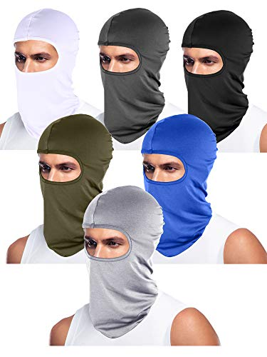 Tatuo 6 Pieces UV Sun Protection Balaclava Full Face Mask Winter Windproof Ski Mask for Outdoor Motorcycle Cycling