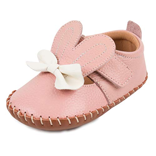 Image of Baby Girls Boys Shoes Genuine Leather Moccasins Baby Walking Shoes (M, Pink)