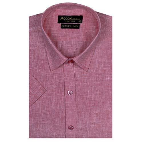 ACCOX Men's Half Sleeves Formal Regular Fit Cotton Linen Shirt(GC30)