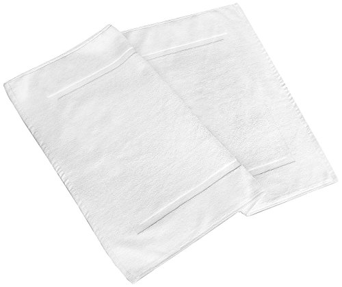 Pacific Linens 20 x 30 inch 2 Pack ShowerTub Bath Mats 100% Ringspun Cotton Soft and absorbent Machine Washable White