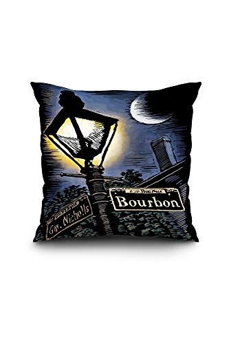 Lantern Press New Orleans, Louisiana - Bourbon Street Lamppost - Scratchboard (18x18 Spun Polyester Pillow, ()