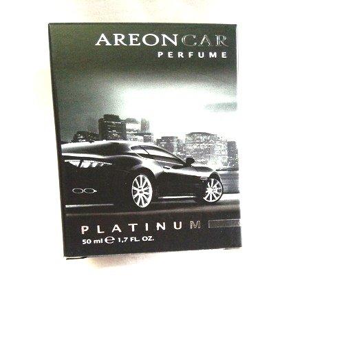 Areon Car Perfume 1.7 Fl Oz. (50ml) Glass Bottle Air Freshener, Platinum