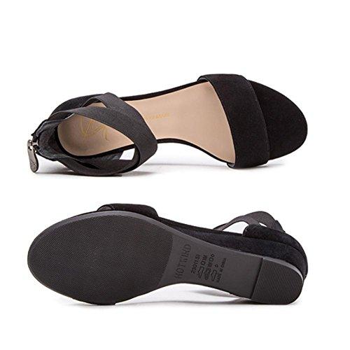 Avec Orteil Unie Couleur Croix Été Nouvelles De Mode 01 Black Des Talons Femme Sandales Slip FZgnwFWRq1