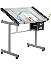 SogesHome Drawing Table Adjustable Drafting Table Art & Craft Drawing Desk Folding with Side Tray,NSDCA-UT-DT1033-P