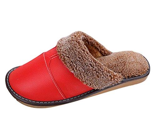 Icegrey Unisex Zapatillas De Estar Por Casa Acogedor Acolchado De Felpa En Deslizadores De Cuero PU Casa Pantuflas Rojo