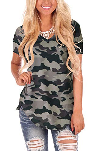 - WFTBDREAM Ladies Soft Cotton V Neck Tee Plain Short Sleeve T Shirt Tops Blouse Camo Grey XL