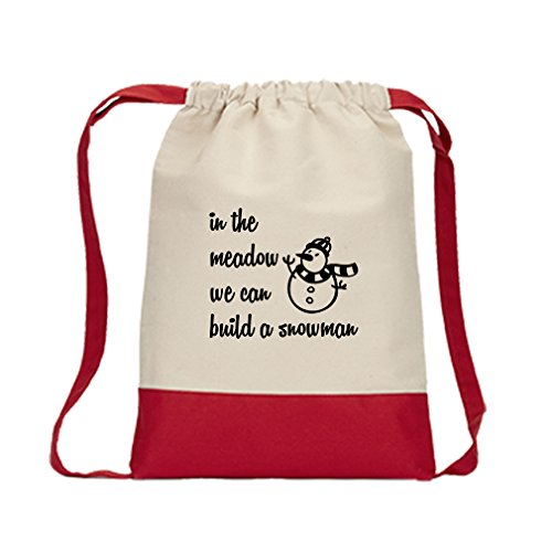 In The Meadow We Can Build A Snowman #2 Canvas Backpack Color Drawstring Bag - Red - Meadow Snowman